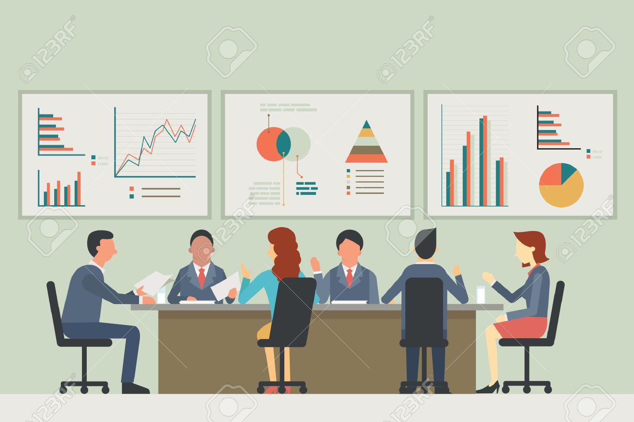 Businesspeople, man and woman, talking, discussing in meeting room. With chart and graph statistics background. Diverse, muilti-ethnic, flat design. - 44708436