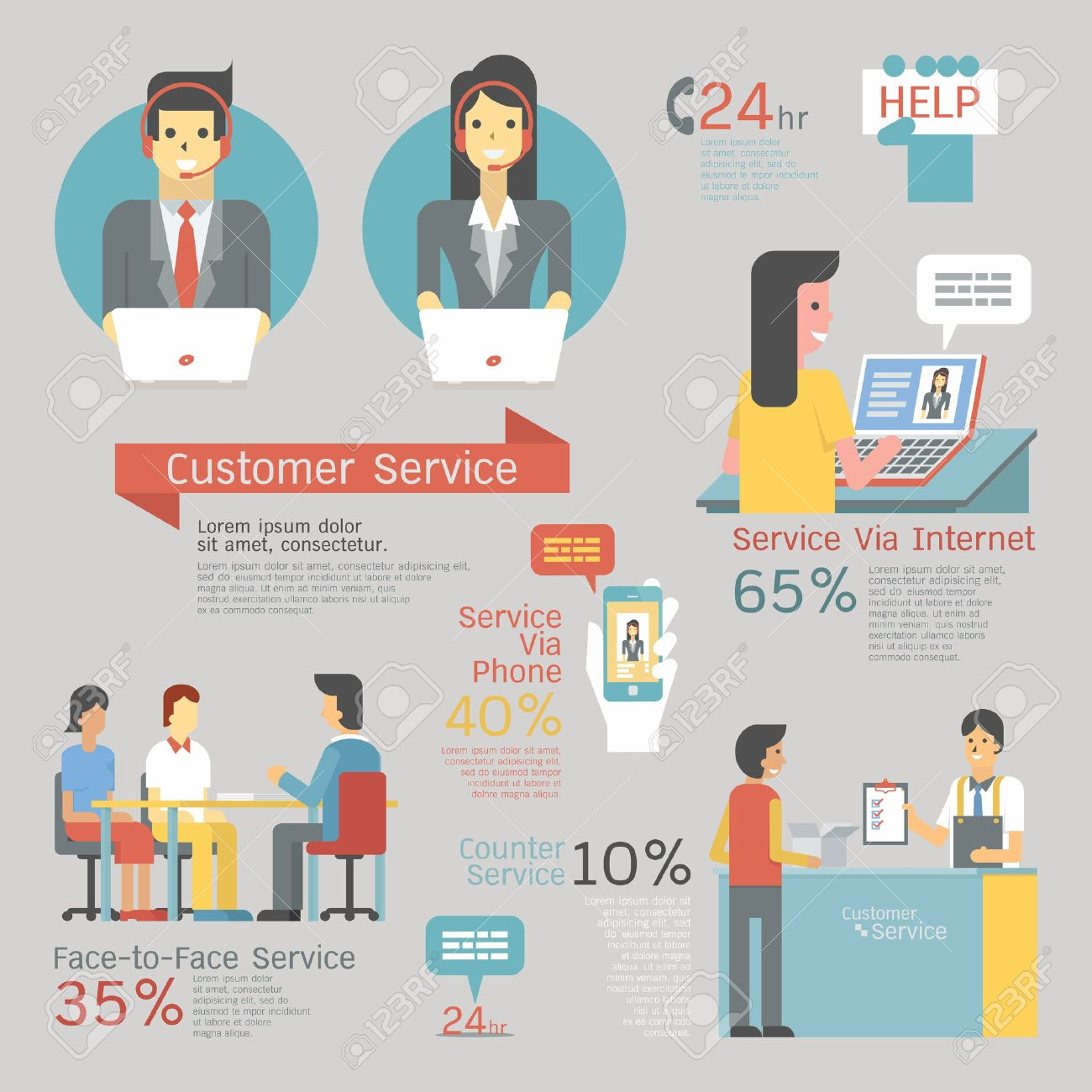 Infographics Of Customer Service Set, Call Center With Headset ...