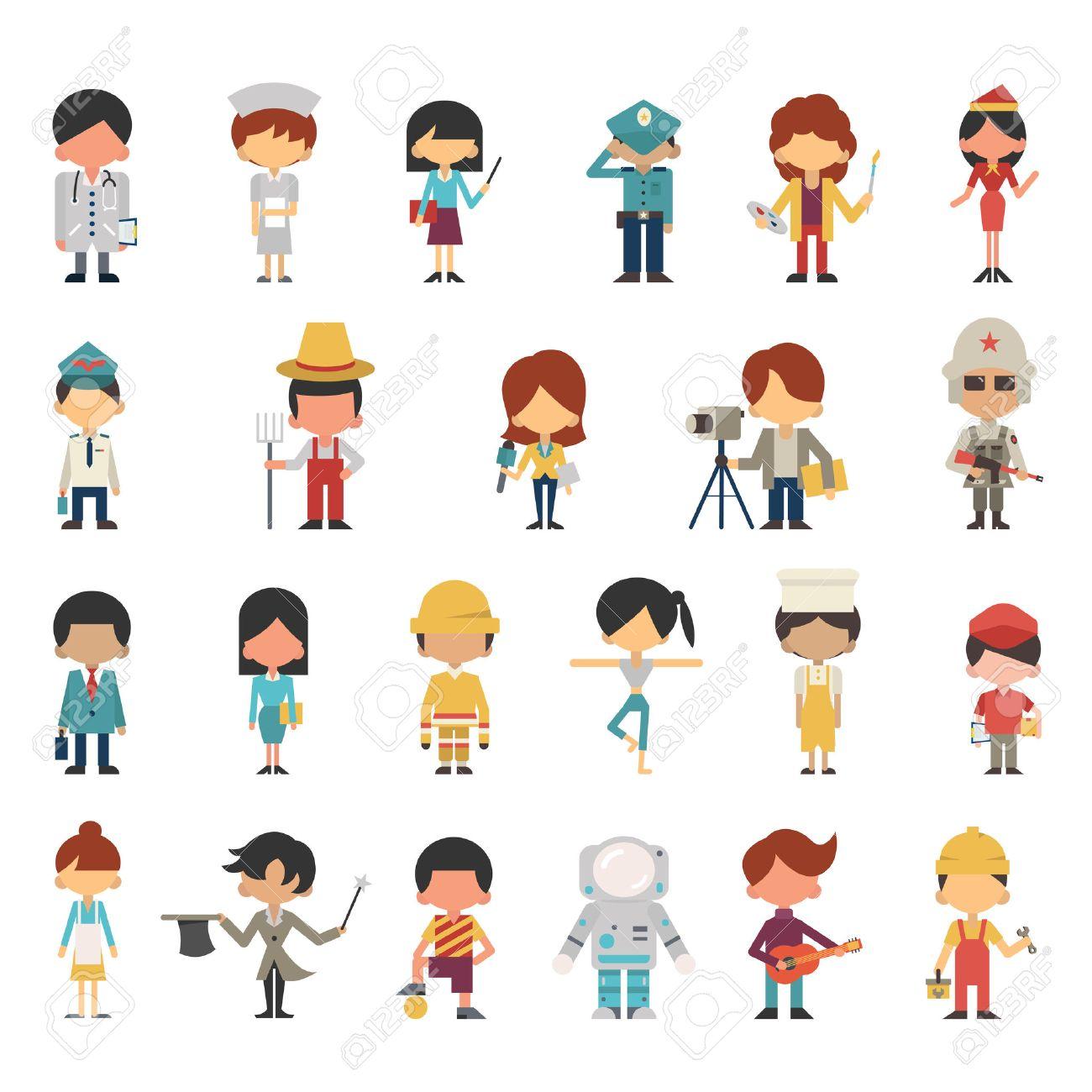 Personajes De Dibujos De Los Niños O Los Niños En Diversas Ocupaciones Concepto Diseño Plano Diseño Simple Diversidad Con Multiétnico