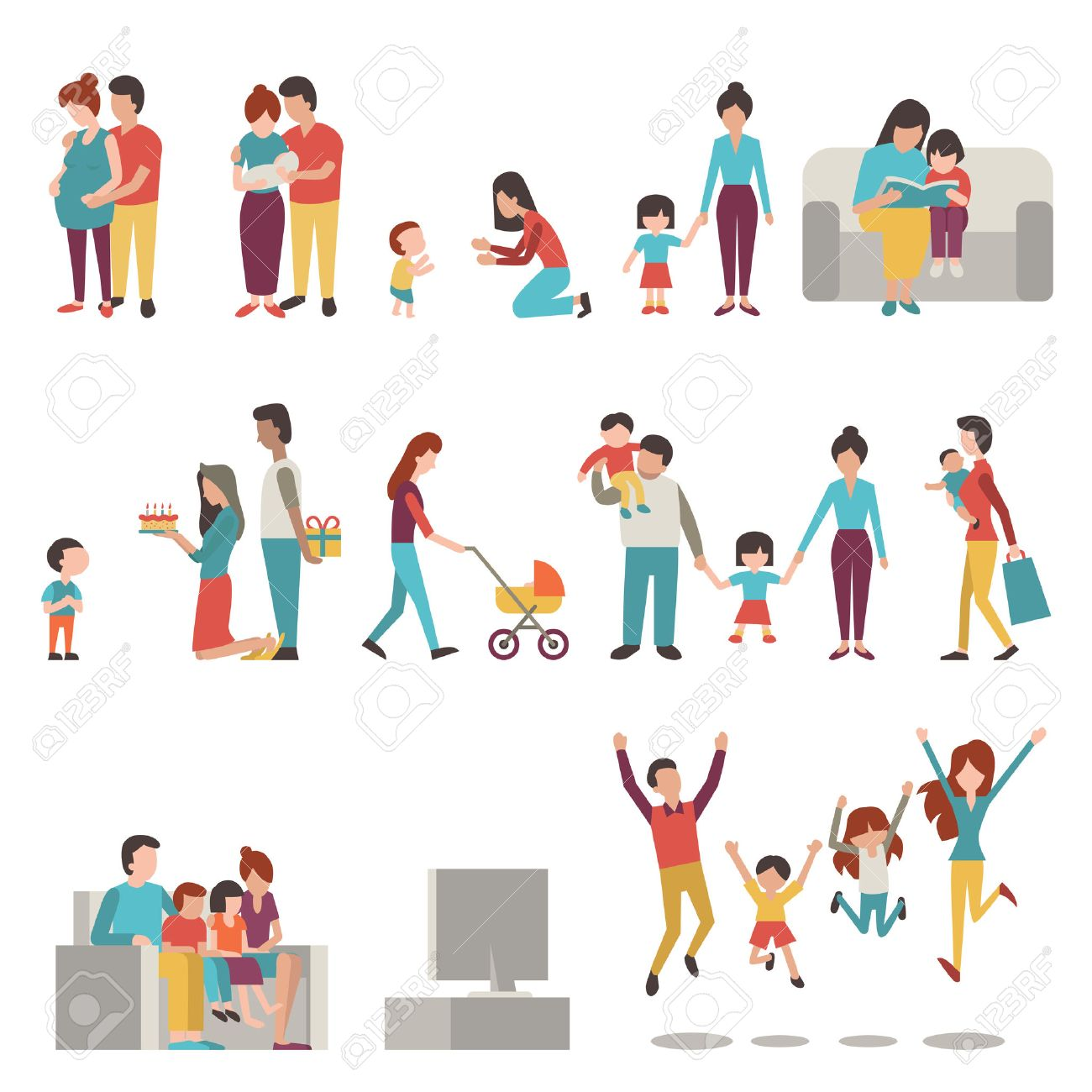 illustration character set of parents, mother, father with kids. Family, pregnant, holding baby, learning to walk, go shopping, give birthday cake and present, jumping in happiness. - 53926658
