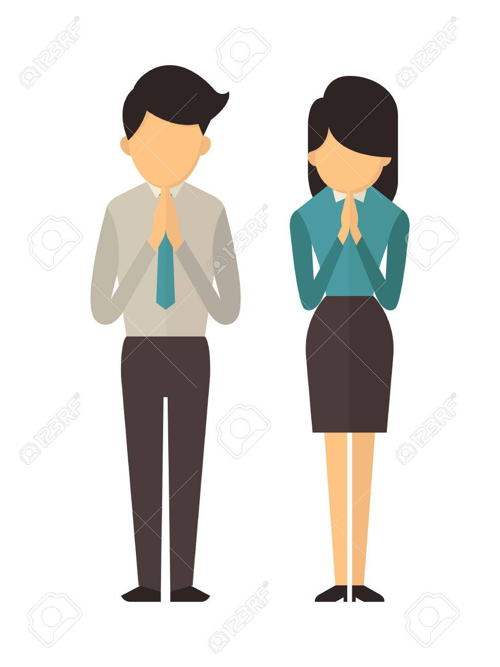 Illustration character portrait of full length of man and woman illustration character portrait of full length of man and woman standing and praying this is kristyandbryce Choice Image