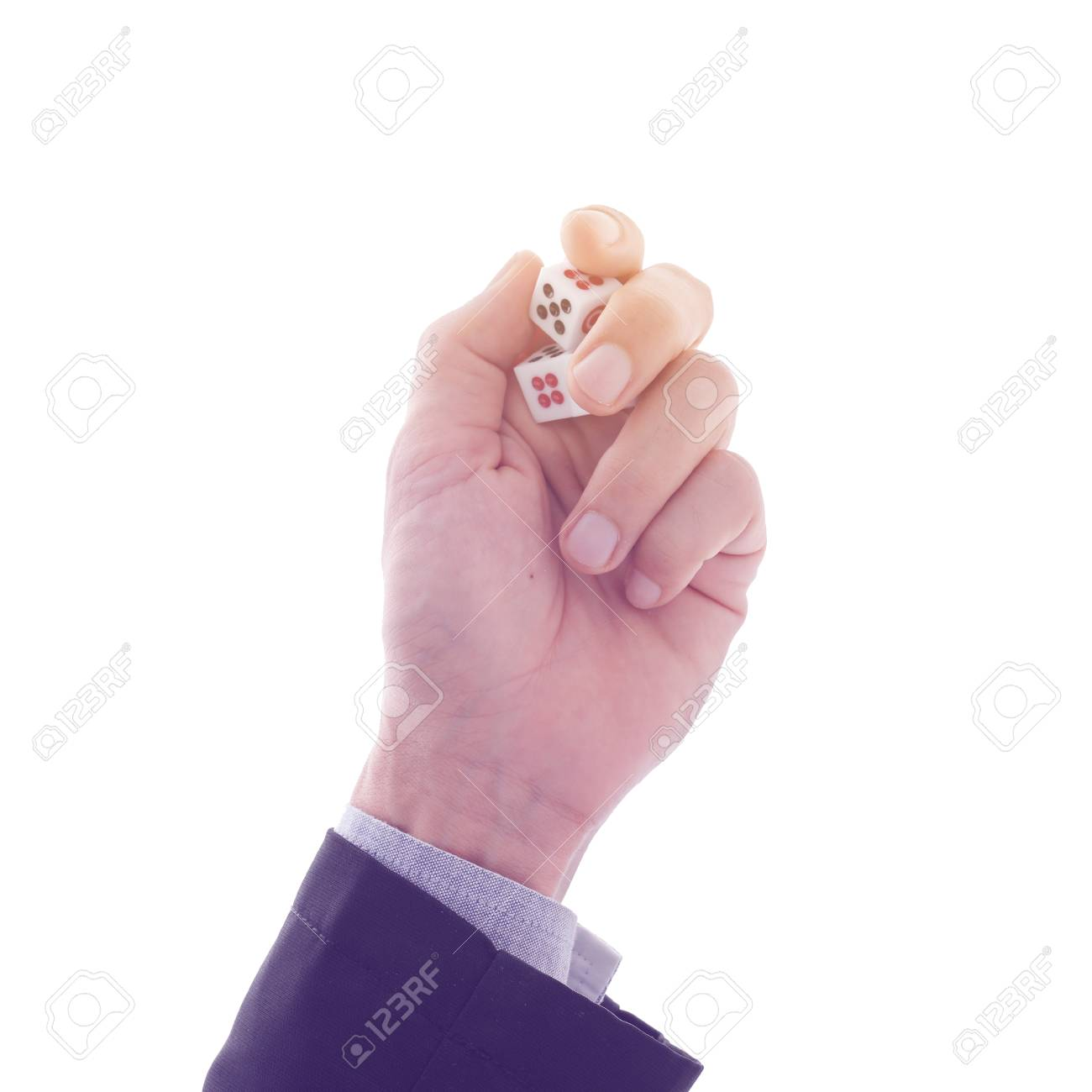 Business man hands hold and show dice in palm, retro filter,