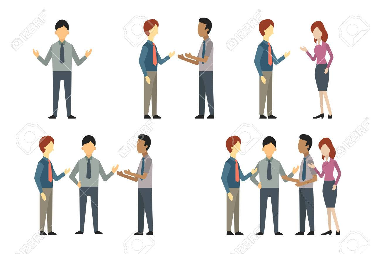 Full length of business man, woman, and people have conversation or talking, greeting, meeting. Vector illustration character set, flat design. - 65454550