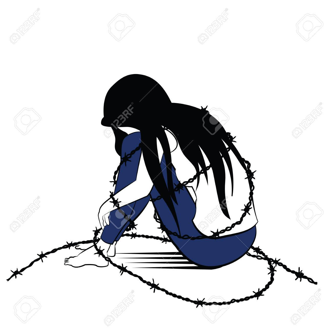 Vector vector illustration drawing in ink sketching style lonely woman sad and depression sitting alone surround with barbed wired presenting to woman