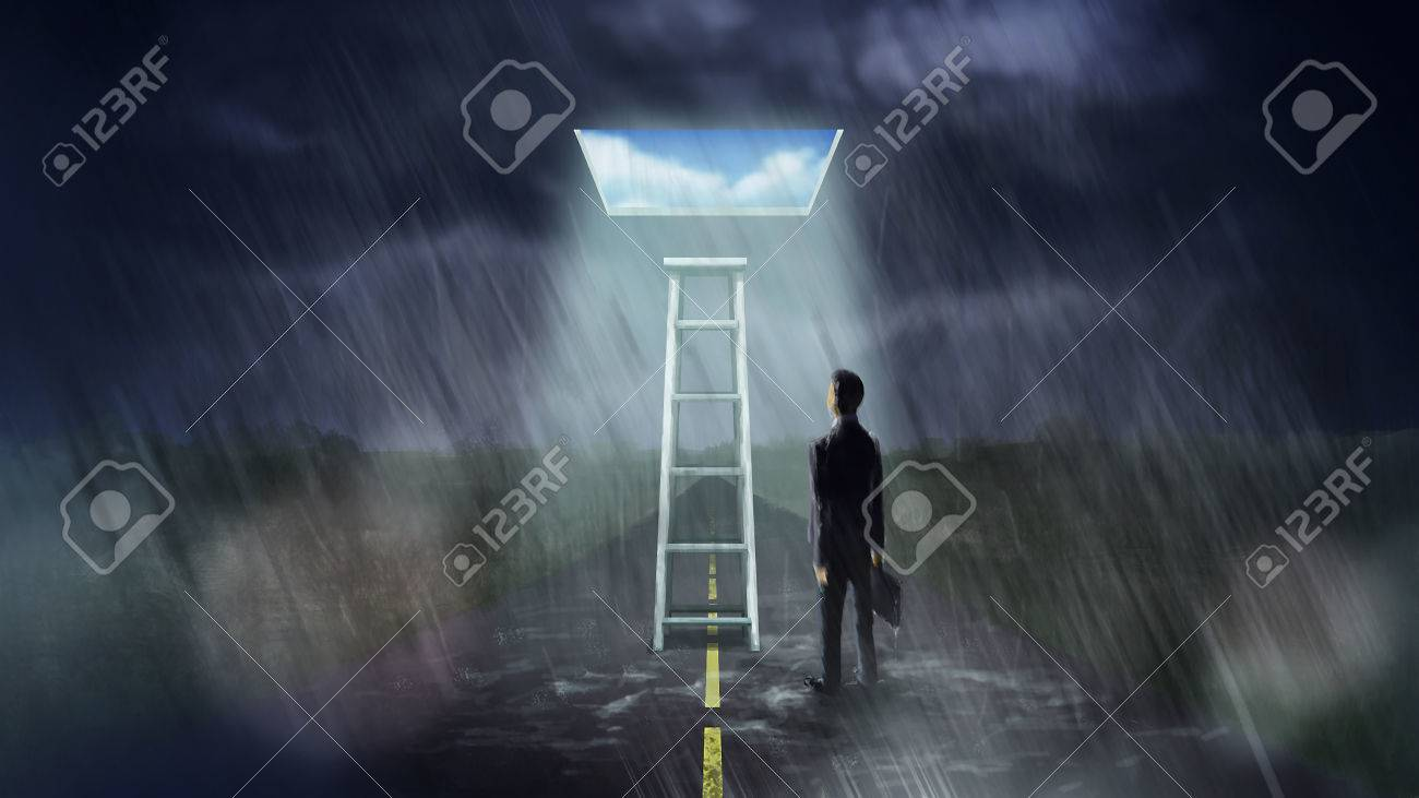 Illustration digital art painting businessman walk alone in rainy and storming day can find ladder that can step up to magic window leading to brighter