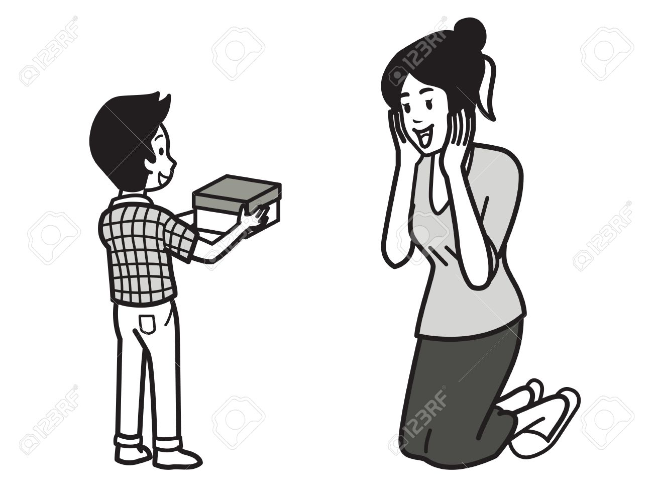 Son Giving Gift Box To Mom Mother With Expressing Happy And Surprise Emotion Family