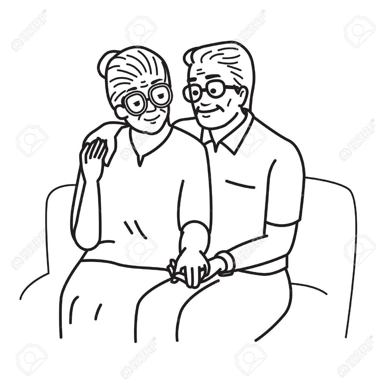 Souriant Et Heureux Amoureux De Couple De Personnes Agees Main