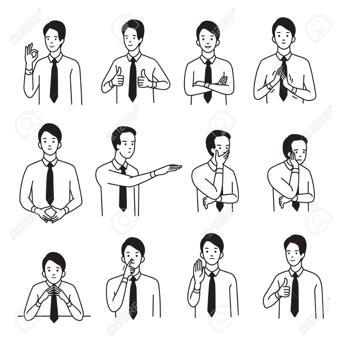Vector illustration character portrait set of businessman with various hand sign body language and emotion expression. Outline, hand draw sketching style, black and white design. - 83870653