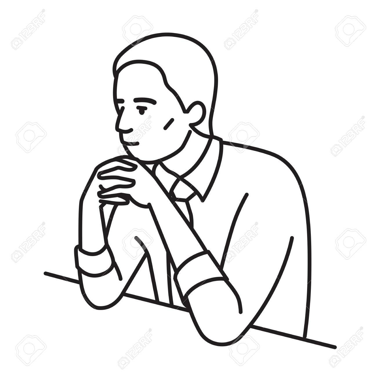 Businessman, african ethnic, sitting table, clenched hands on