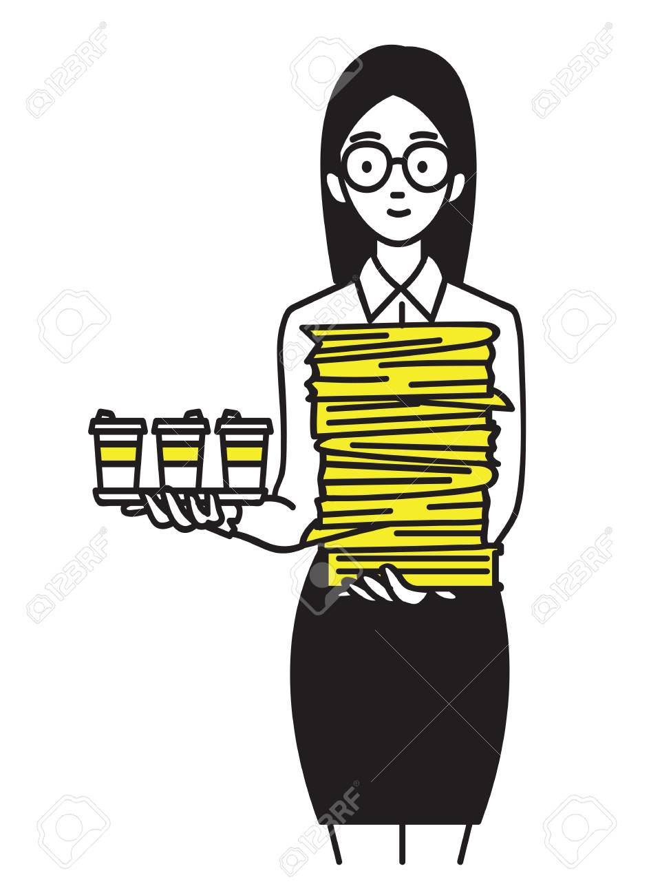 young pretty female trainee carrying heavy stacked paperwork