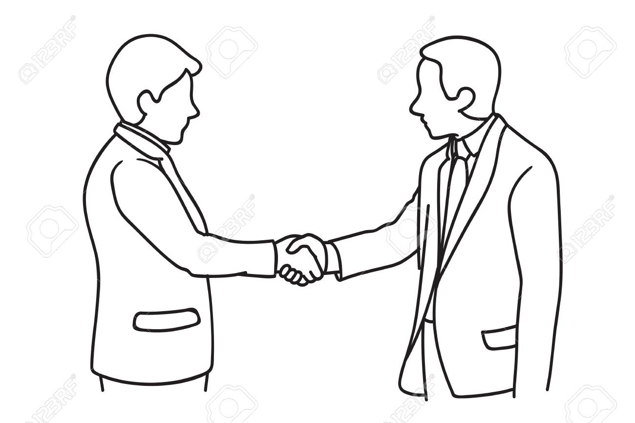 Two businessmen making handshake. Shaking hands, in concept of agreement, corporation, or partnership. Hand drawn sketch design. - 90618811