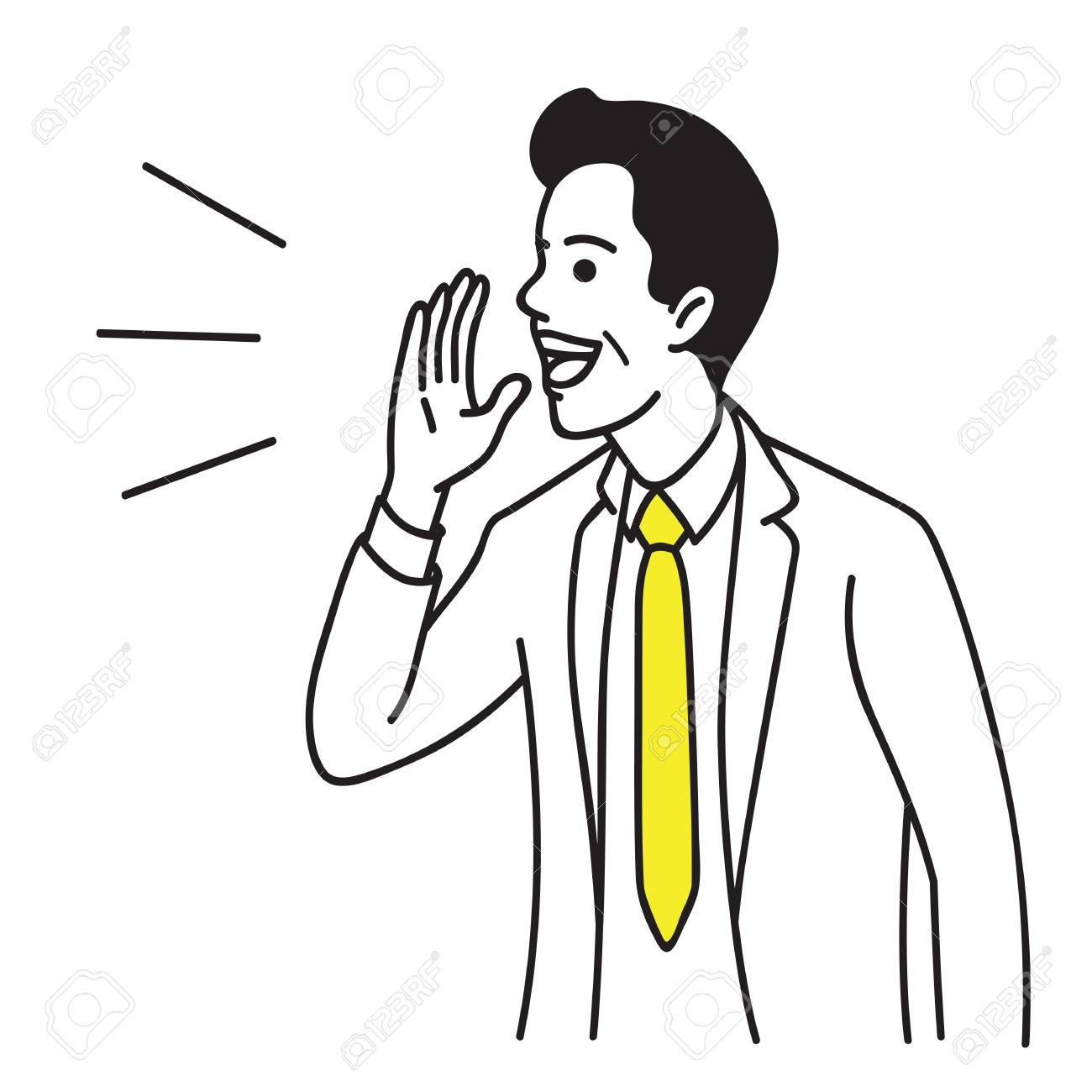 Vector illustration portrait character of businessman raise hand near mouth. Shouting, talking and speaking. Hand drawn sketch design, simple style. - 90618814