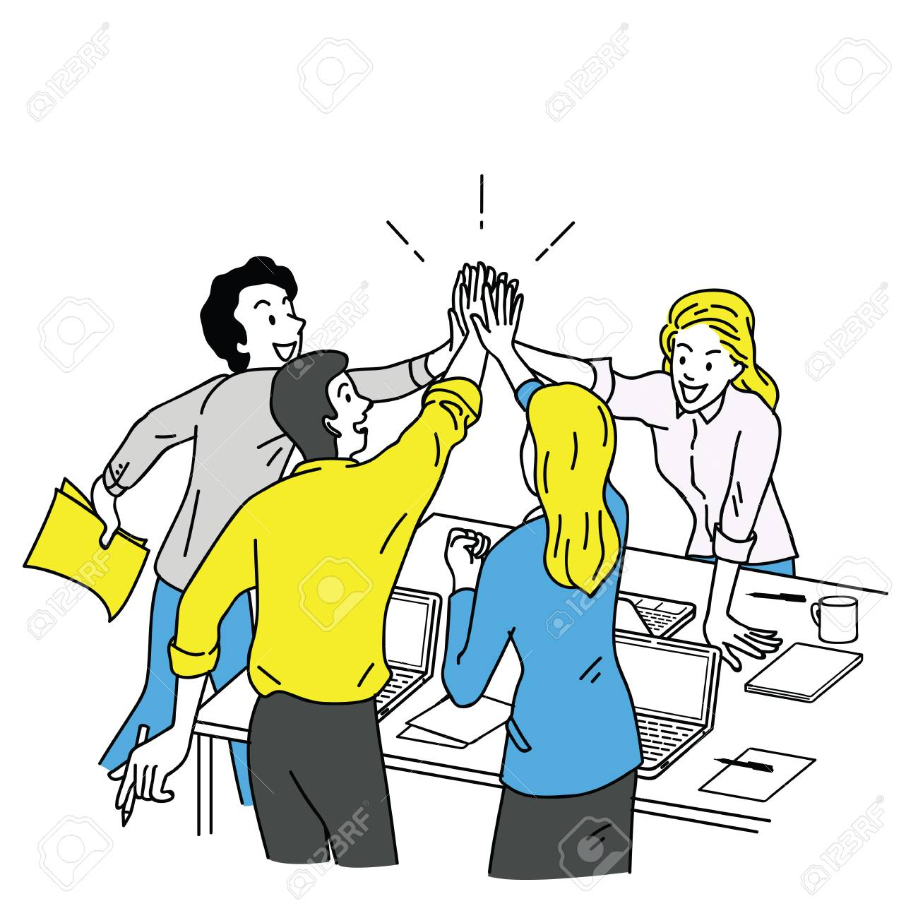 Group of businesspeople, man and woman, giving high five in business concept of corporate, success, congratulation. Outline, linear, thin line art, hand drawn sketch design, simple color style. - 91019709