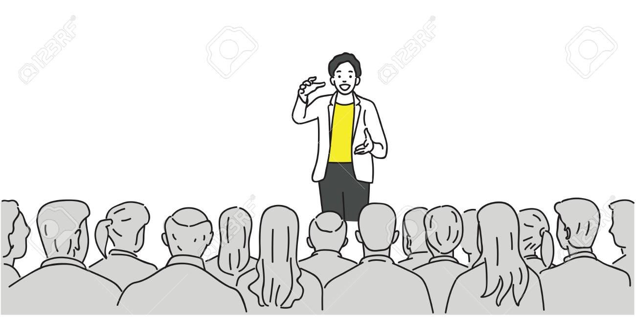 Creative man giving a talk on stage to audience in the conference hall. Outline, thin line art, linear, doodle, cartoon, hand drawn sketch design. - 91019712