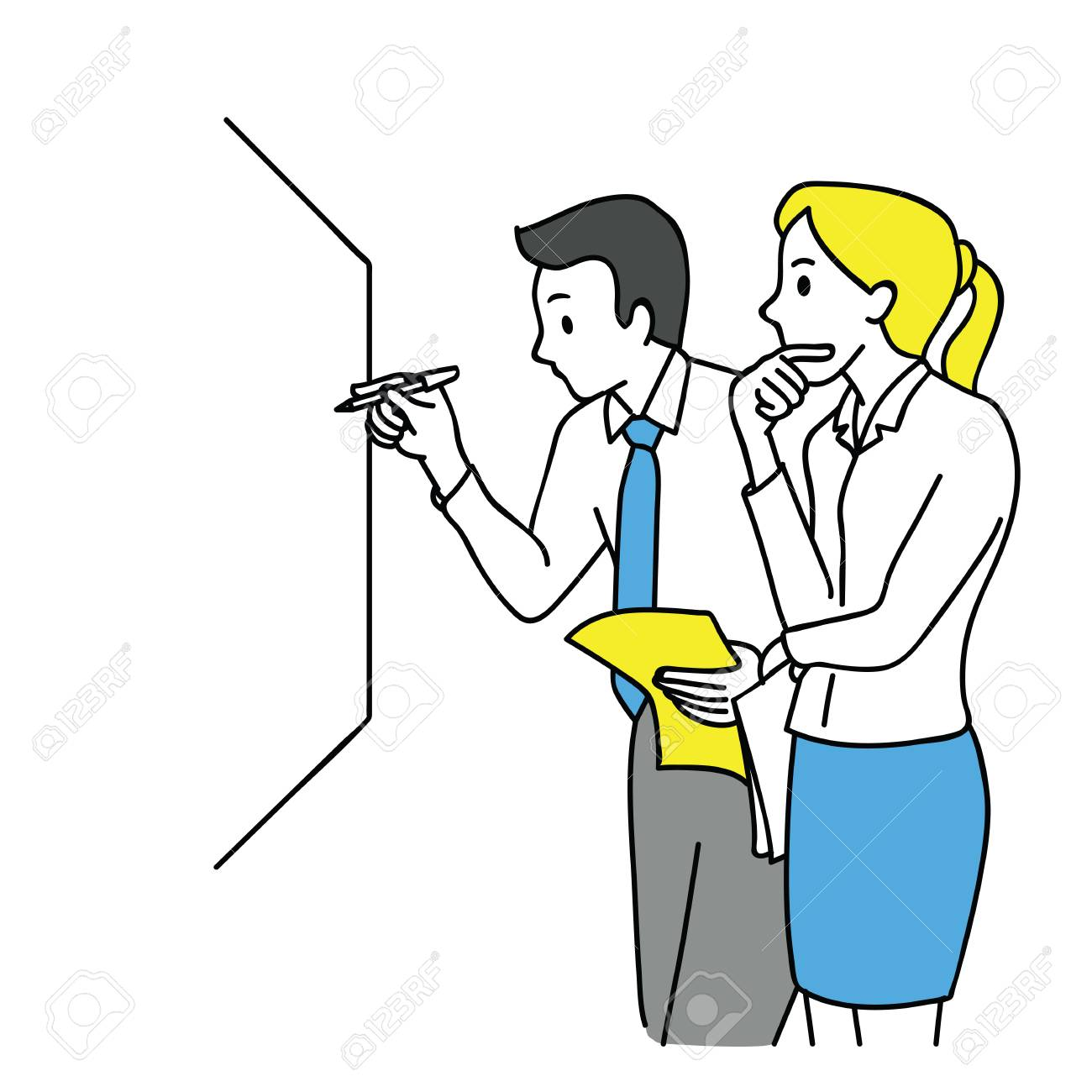 Businessman and woman, writing on white board, thinking and discussing, business concept in partnership, teamwork, coworkers, corporate. Outline, linear, thin line art, hand drawn sketch design. - 91019797
