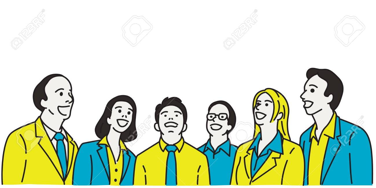 Vector illustration character of businesspeople, man and woman, looking up with surprised expression. Linear, thin line art, hand drawn sketch design, simple style. - 144485356
