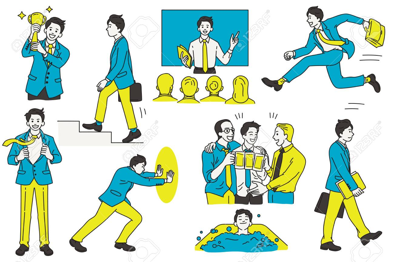 Vector illustration character design of businessman, various actions and activities, at workplace and office, business concept. Outline, linear, thin line art, hand draw sketch, simple style. - 144485364