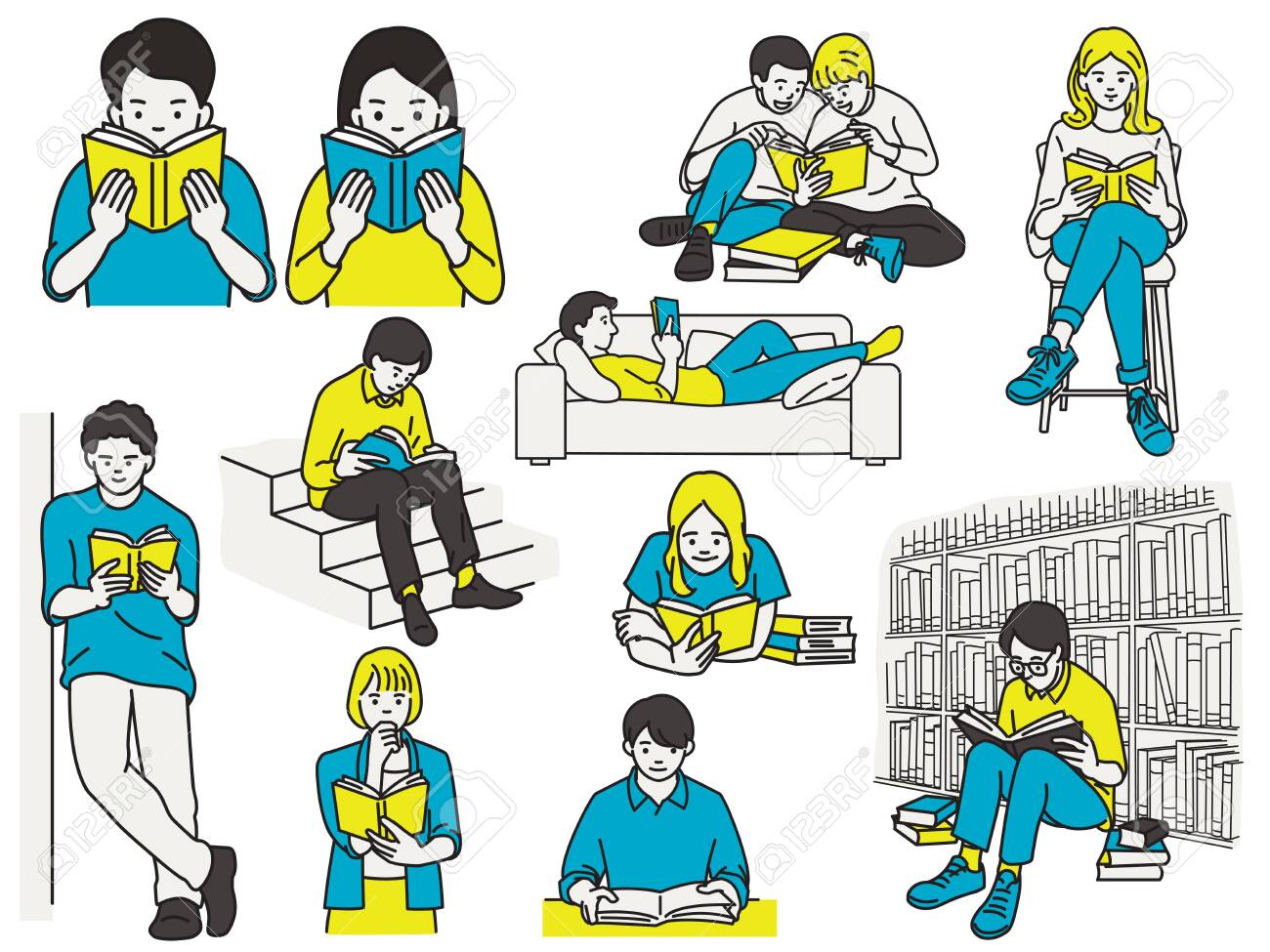 Vector illustration character of many people reading books in various poses, sitting desk, lying sofa, sitting chair, standing against wall, in library. Hand drawn sketch. - 148518503
