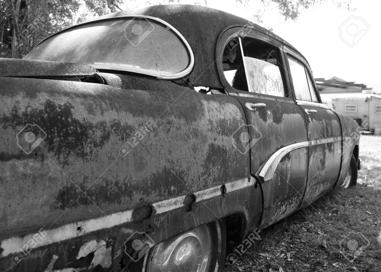 Rusted Old Car In The Junk Yard Stock Photo, Picture And Royalty ...