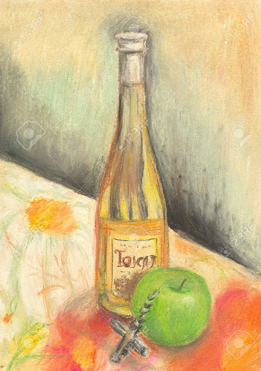 Hand painted bottle of wine Stock Photo - 9030094