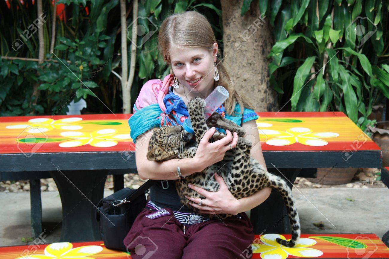 Young Caucasian girl feeding baby leopard, Thailand Stock Photo - 12362832