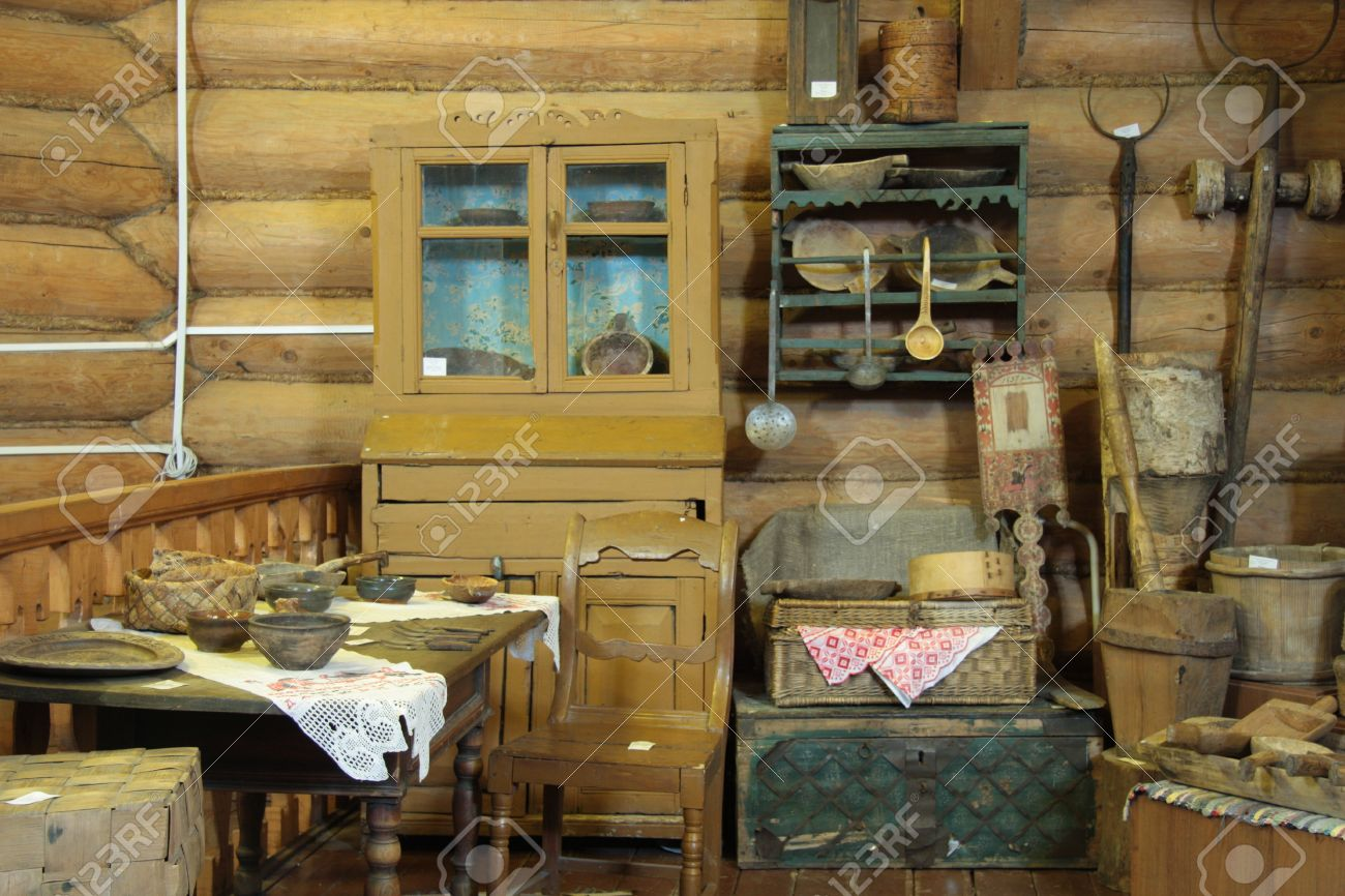Interior Of An Old Russian Wooden House Stock Photo