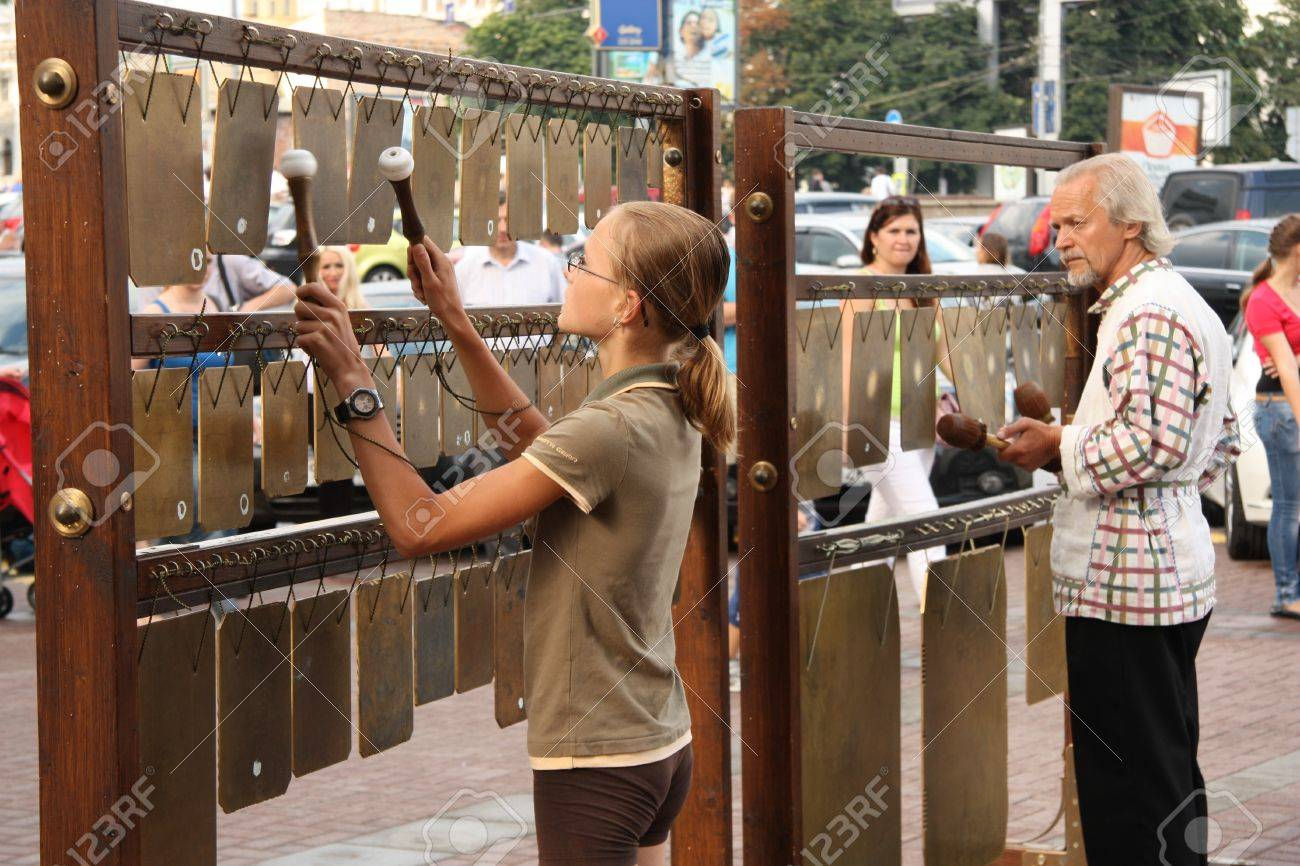 People play the percussion musical instrument in Arbat street of Moscow, Russia - 28.07.2012 Stock Photo - 14962671