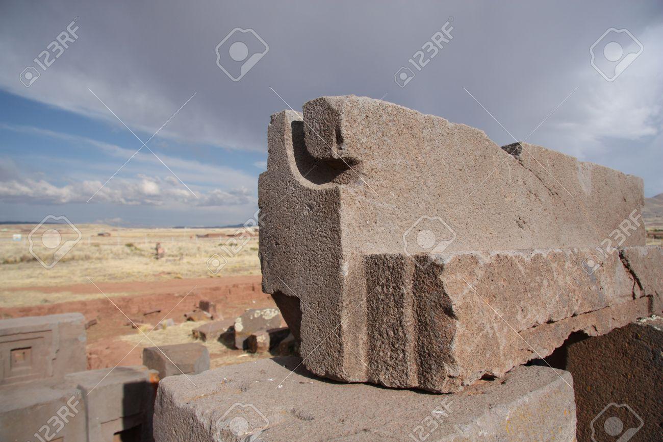 Megalith Blöcke Von Puma Punku Ruins Tiwanaku Bolivien Lizenzfreie