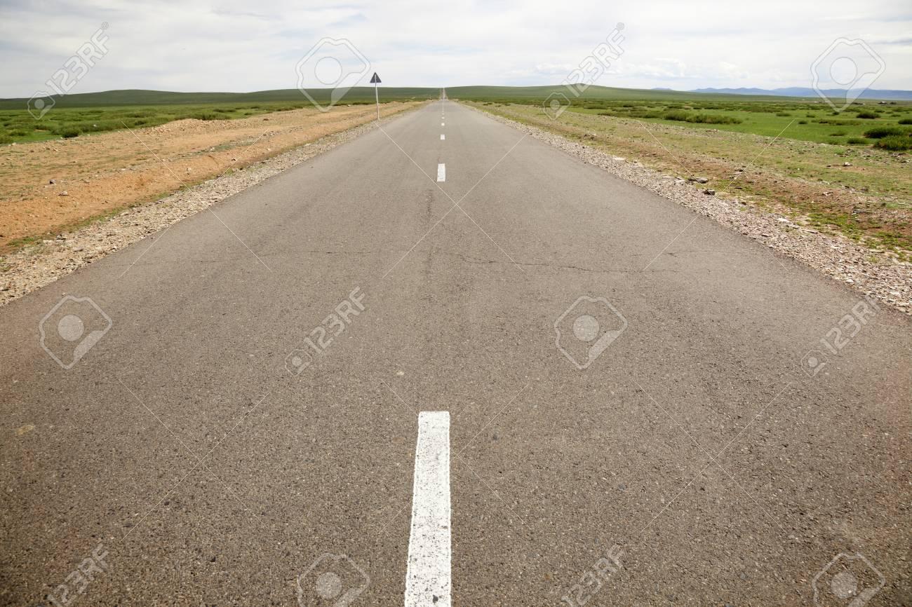 Carts asphalt in the middle of the Gobi Desert in Mongolia Stock Photo - 16455139