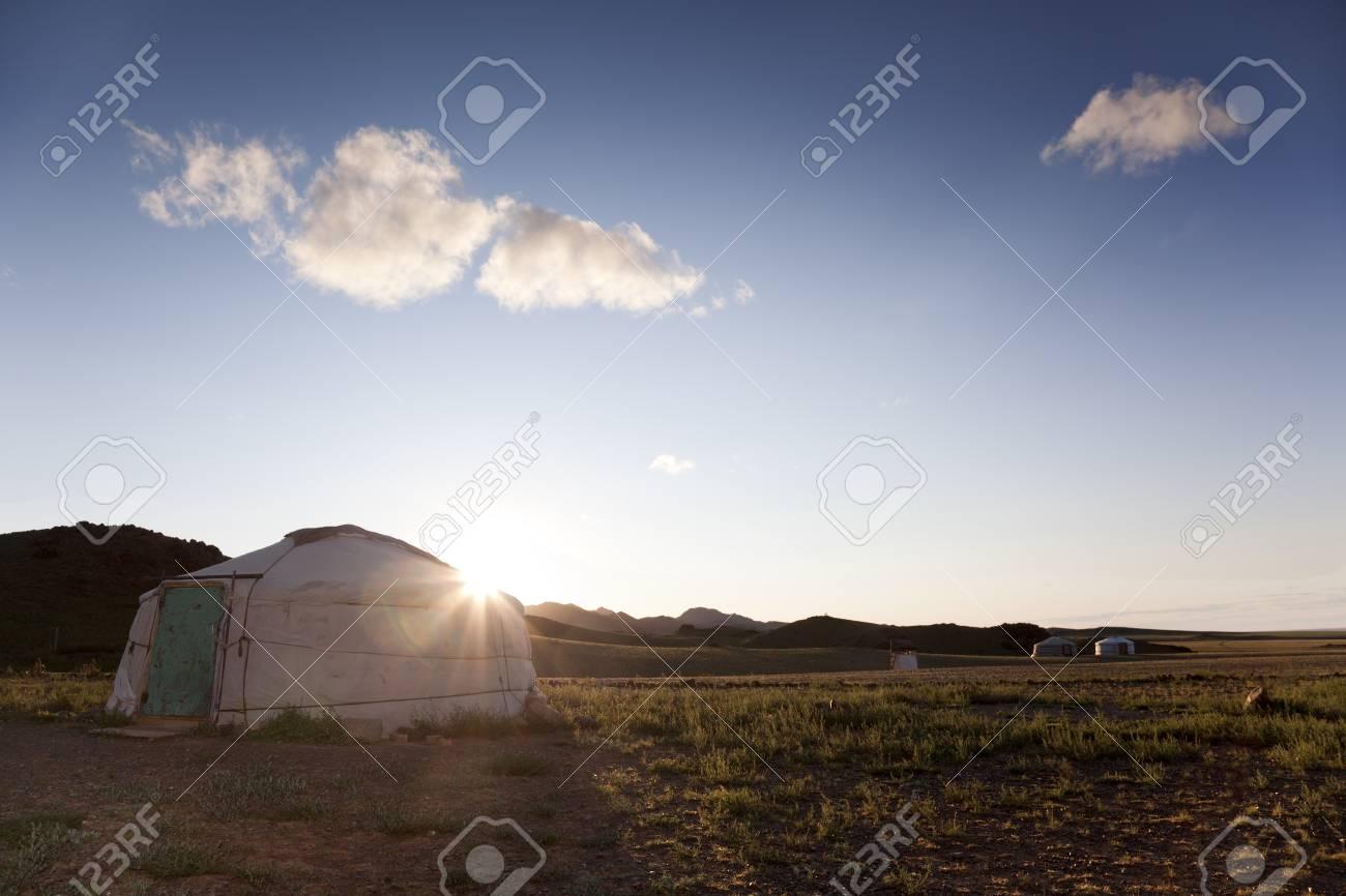 The sun rises in the Gobi desert Stock Photo - 17048253