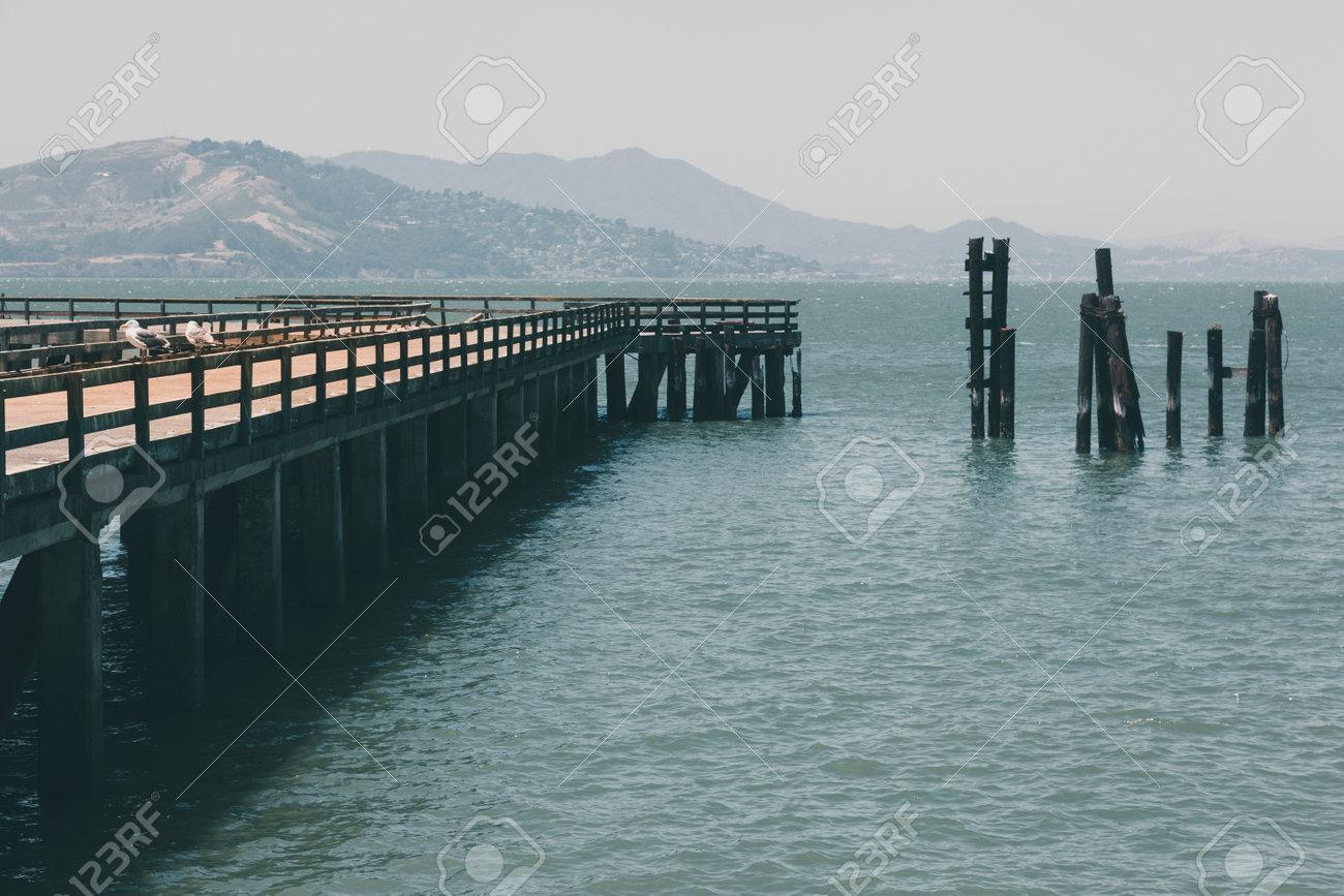 Pier in Sn Francisco bay. Near the Golden Gate bridge - 168023760