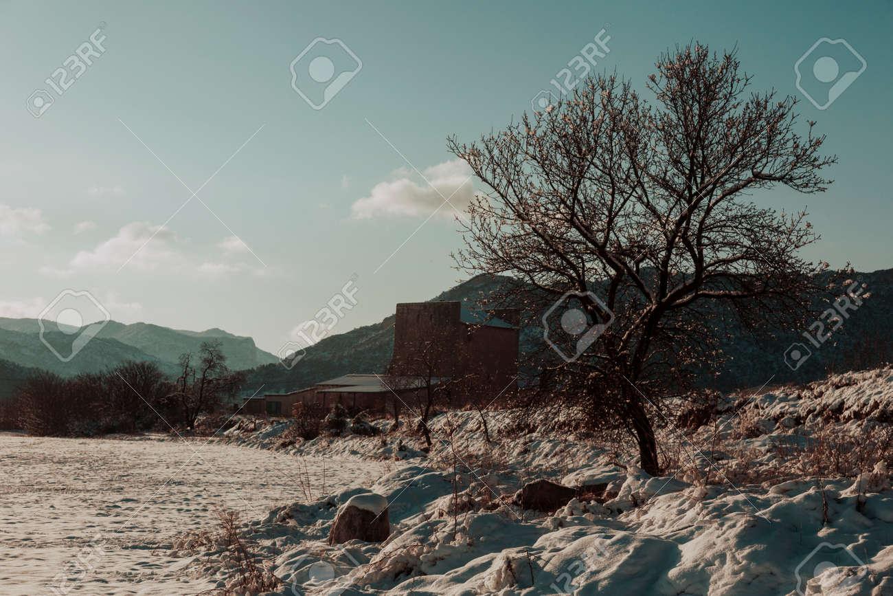 Snowy fields in Matarranya. Teruel province. Spain - 166876947