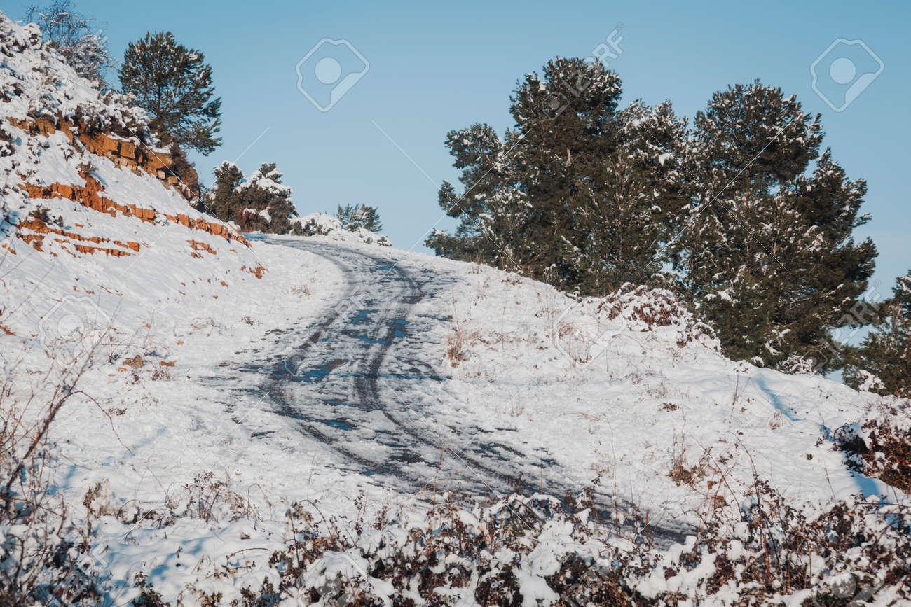 Snowy fields in Matarranya. Teruel province. Spain - 167746334