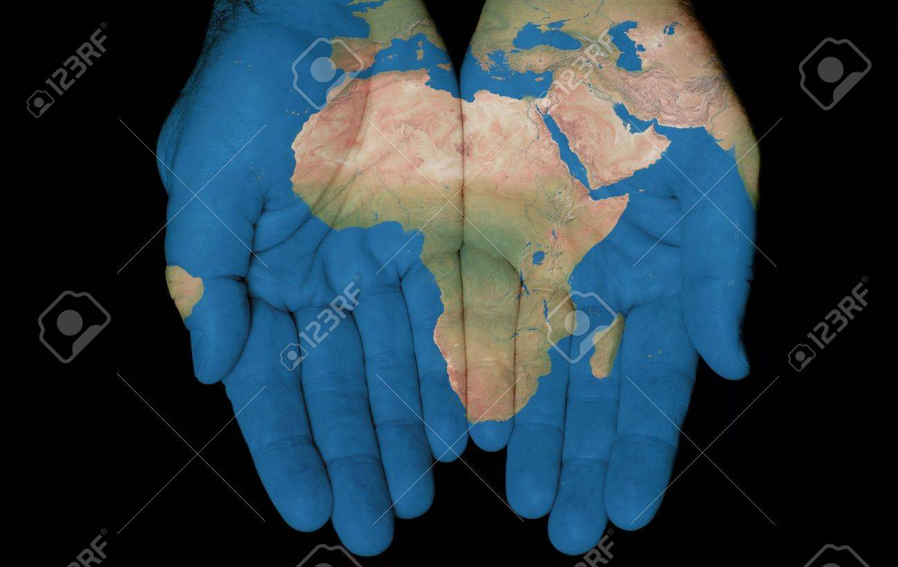 Map painted on hands showing concept of having the Country Of Africa in our hands Stock Photo - 11178208