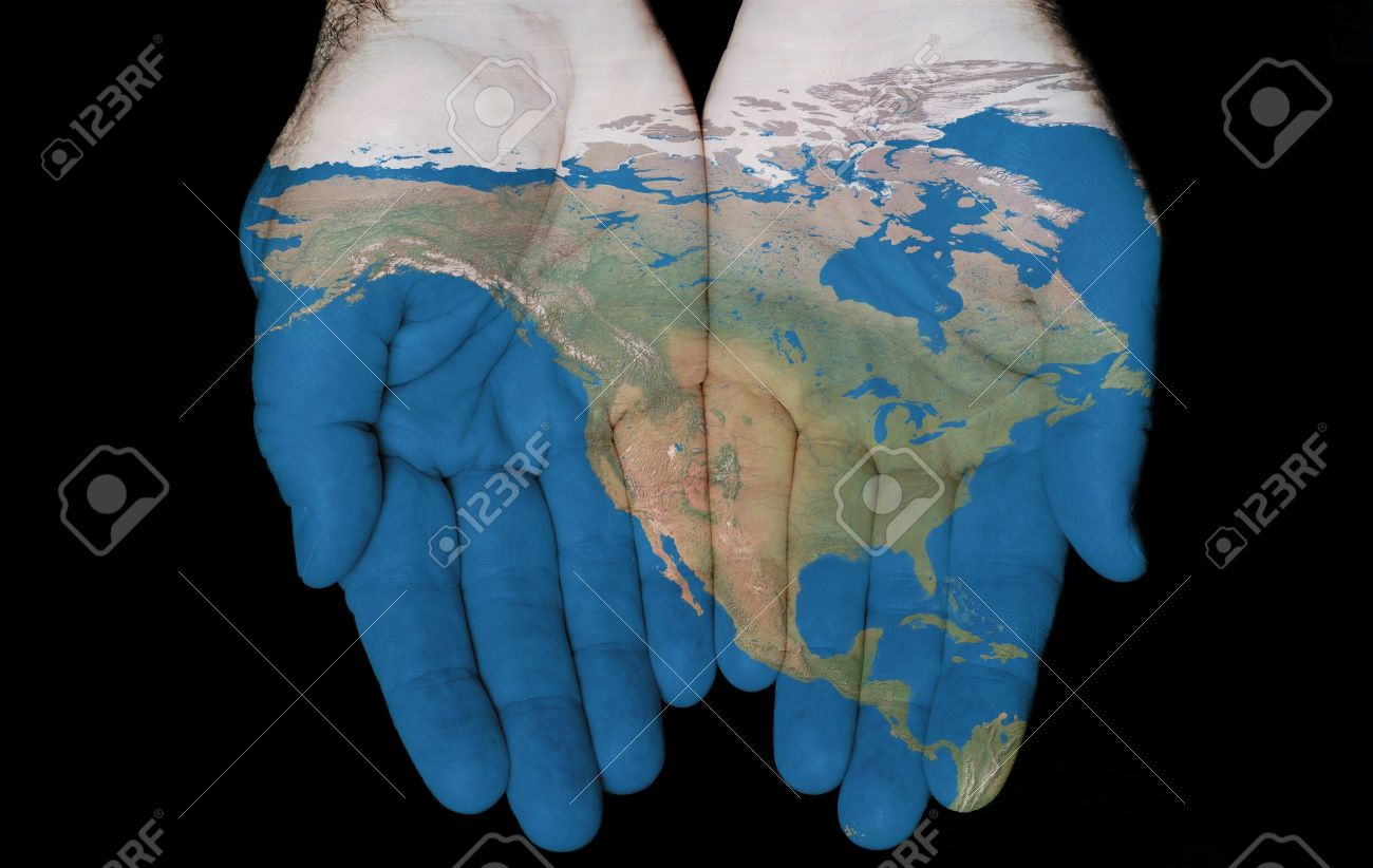 Map painted on hands showing concept of having North America in our hands Stock Photo - 11276032