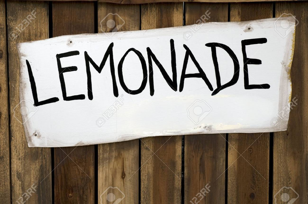 lemonade sign on a wooden stand stock photo picture and royalty