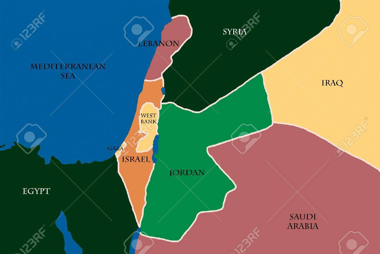 Colored Map Of Israel And Palestine Stock Photo Picture And - Map of egypt israel and saudi arabia