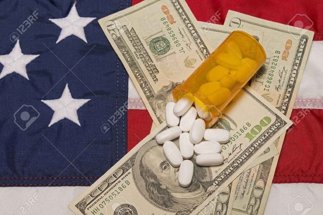 Prescription Medicine The American Flag and Money Stock Photo - 17301076
