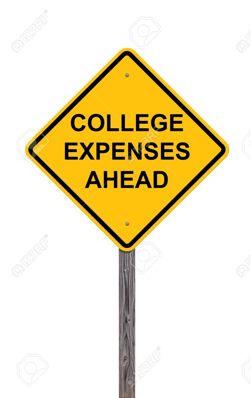 caution sign college expenses ahead stock photo picture and