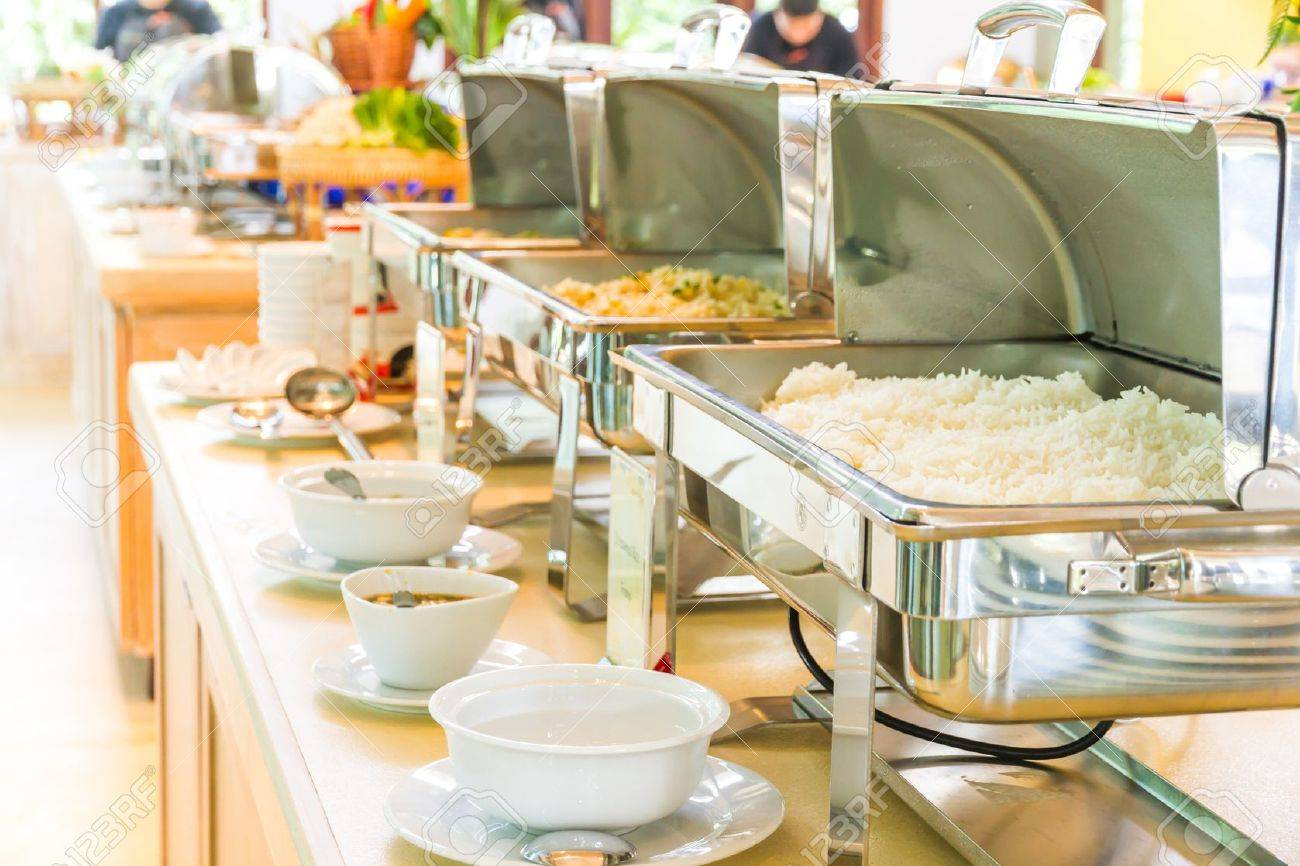 Many buffet heated trays ready for service Stock Photo - 21056760
