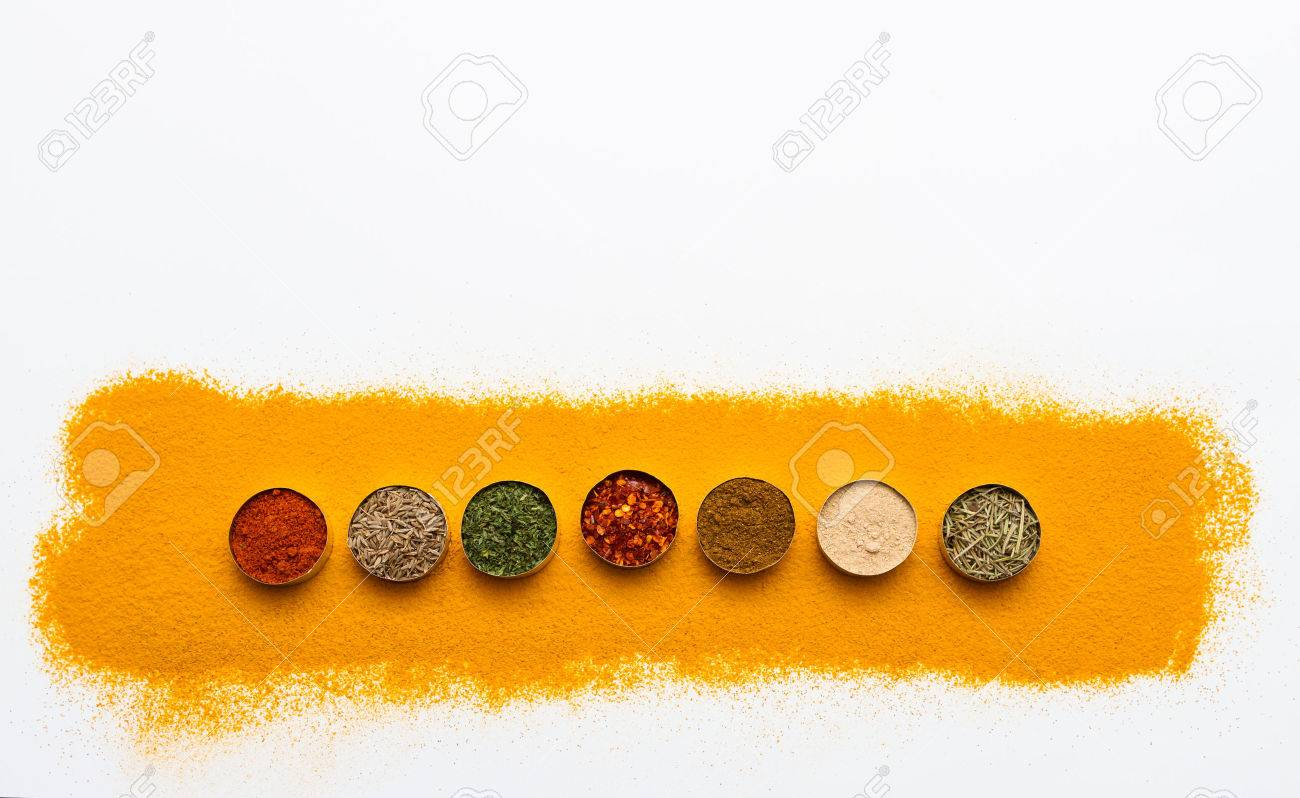 Many spices and herbs selection background for decorate design project. Stock Photo - 41556950