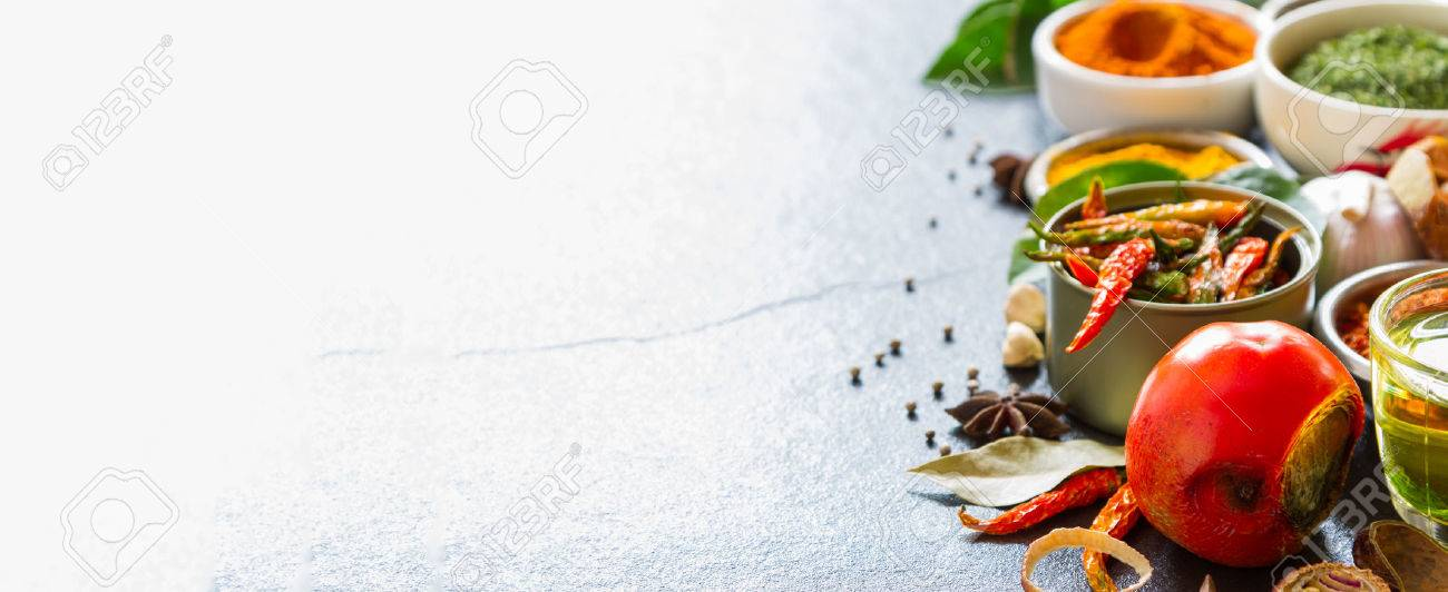 Mixed spices and herbs on background for decorate design. Stock Photo - 41557016