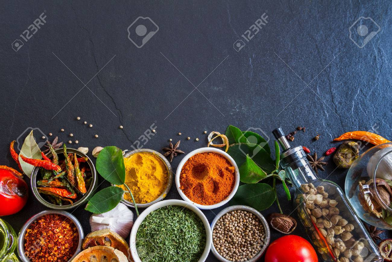 Mixed spices and herbs on background for decorate design. Stock Photo - 41557018
