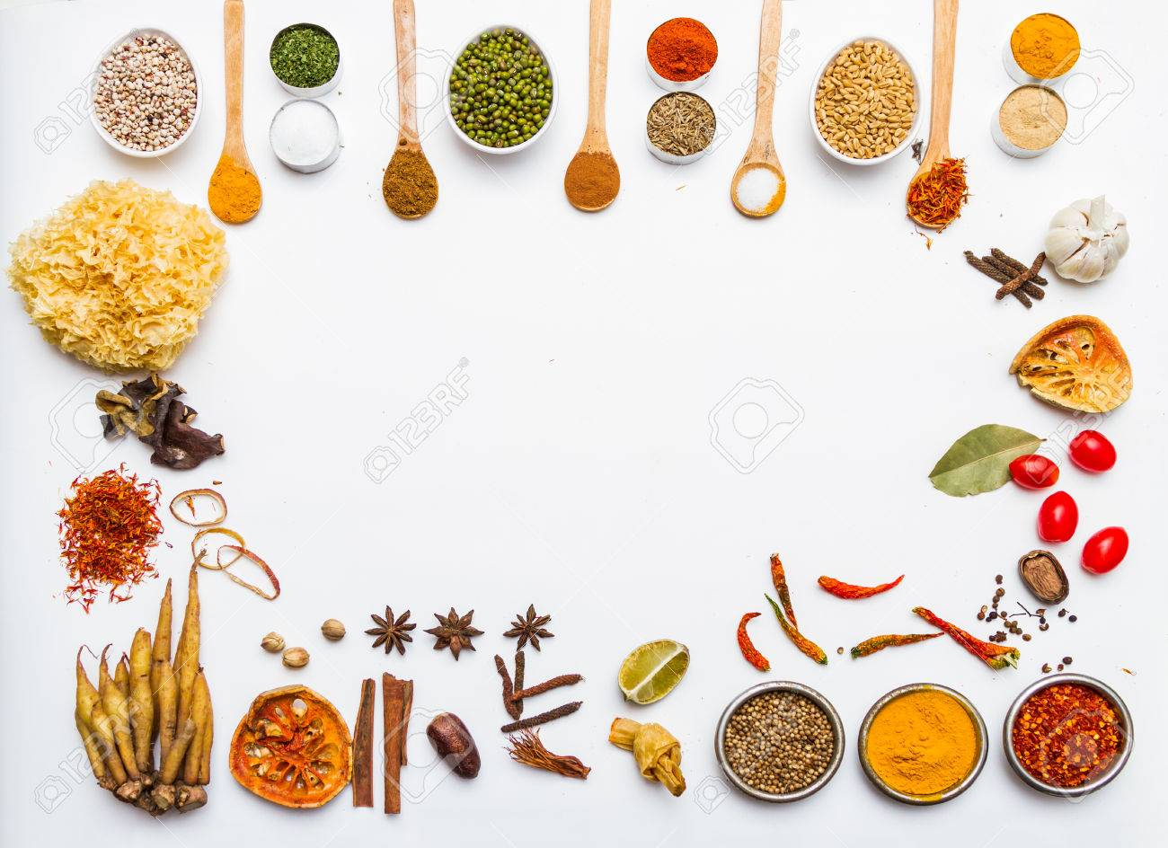 Many spices and herb for health background for decorate design. Stock Photo - 41933475