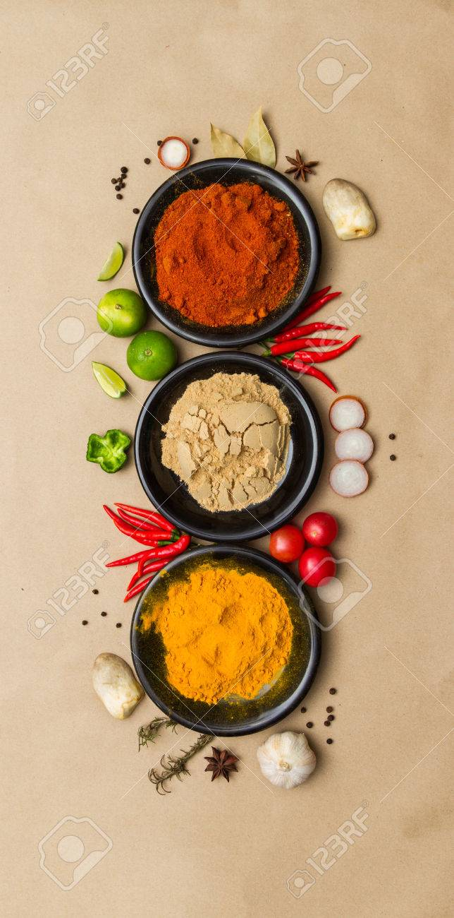 Spices for herb on brown paper background. Stock Photo - 42744859