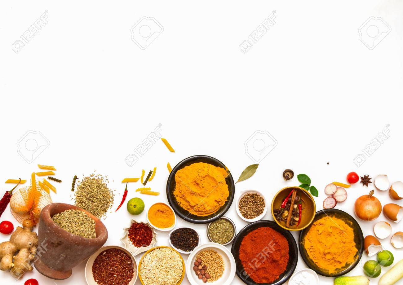 spices for food on red background. Stock Photo - 43047901