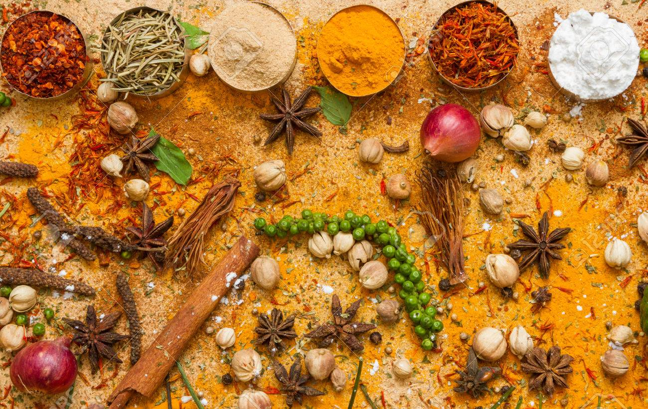 Spices for herb and cooking on brown background. Stock Photo - 48170112