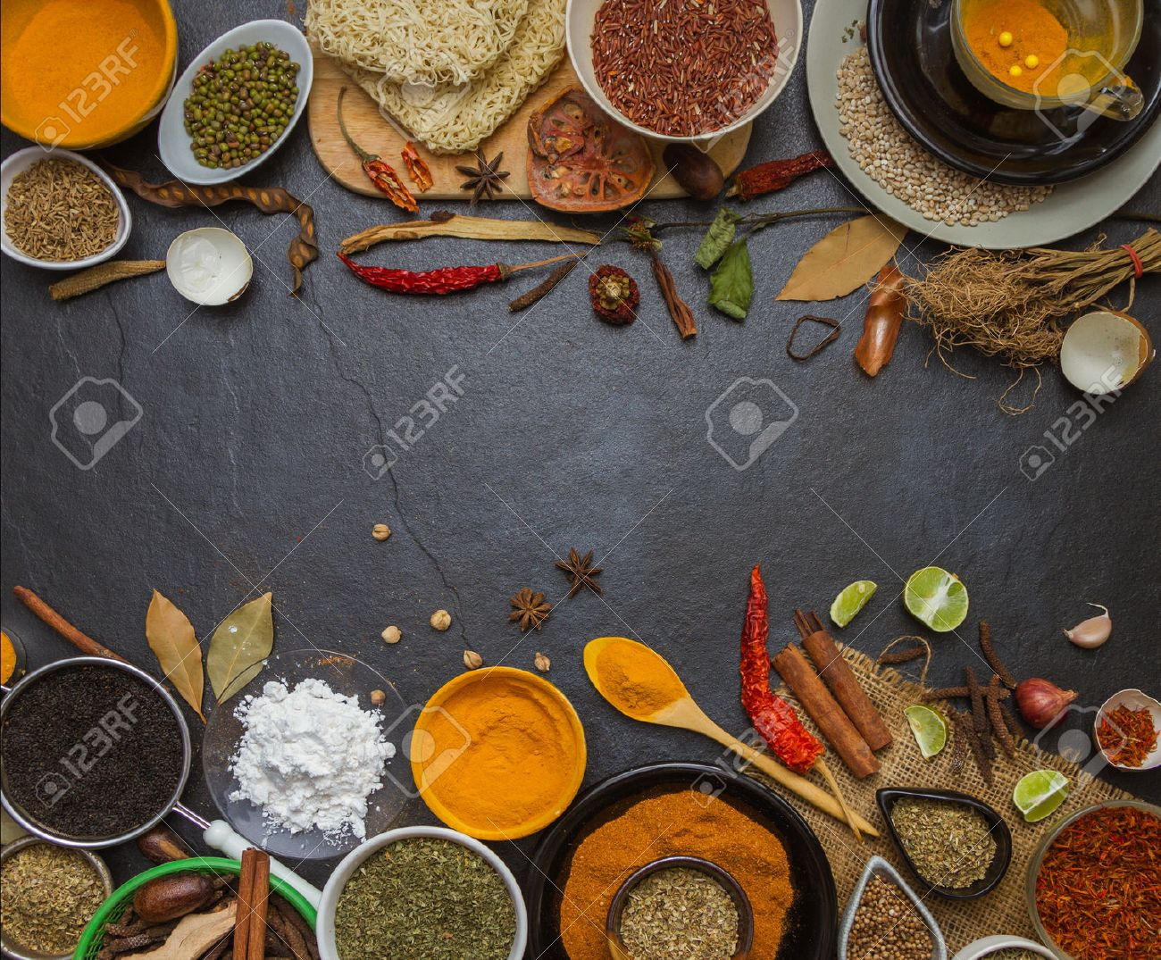 The spice and herb on stone background for design or decorate project. Stock Photo - 51301665