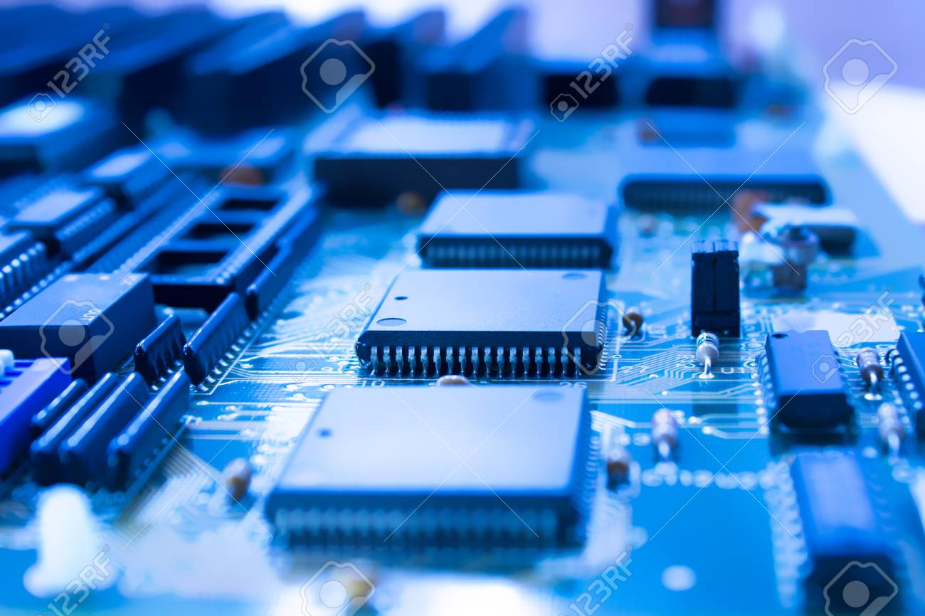 On Board Are Capacitors Resistors Slots Integrated Circuits Circuit Stock Photo Closeup Of Diodes Microprocessor
