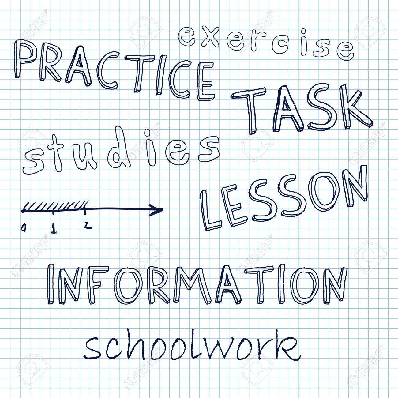 Doodle Math, Lesson, Schoolwork, Written By Hand On A Sheet Of ...